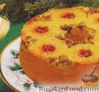 Фото к рецепту: Пирог-перевёртыш с ананасами и орехами