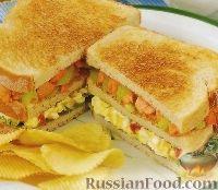 Фото к рецепту: Тройной клубный сэндвич с лососем
