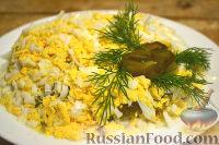Фото к рецепту: Салат из говядины, яиц и маринованных огурцов