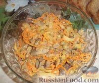Фото к рецепту: Салат из куриной печени, с корейской морковью