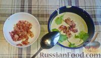 Фото к рецепту: Крем-суп из шампиньонов, с беконом