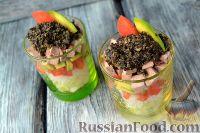 Фото к рецепту: Салат с языком, авокадо и тапенадом