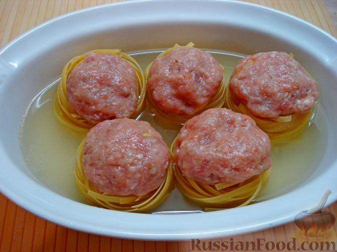Рецепт гнёзда из макарон с фаршем рецепт пошаговый