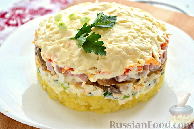 рецепт салата ветчиной с грибами
