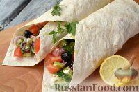 Фото к рецепту: Греческий салат в лаваше