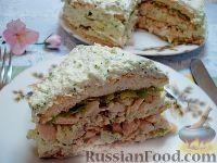 Фото к рецепту: Закусочный торт с курицей и творогом