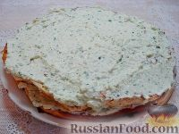 Фото приготовления рецепта: Закусочный торт с курицей и творогом - шаг №11