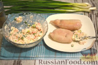 Фото приготовления рецепта: Кальмары, фаршированные творогом и креветками - шаг №8