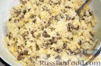 Фото приготовления рецепта: Драники с грибами (постные) - шаг №4