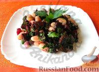Фото к рецепту: Постный салат со свеклой и фасолью