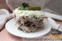 Фото к рецепту: Салат с языком и свежими огурцами