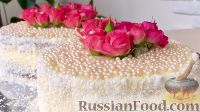 Фото к рецепту: Бисквитный торт с живыми цветами