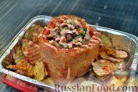 Фото к рецепту: Хрустящий перец, чиненный курой, рисом, грибами и брынзой