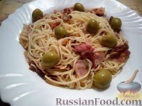 Фото к рецепту: Спагетти с беконом, на американский лад