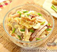 Фото к рецепту: Салат с блинчиками, ветчиной, сыром и грибами