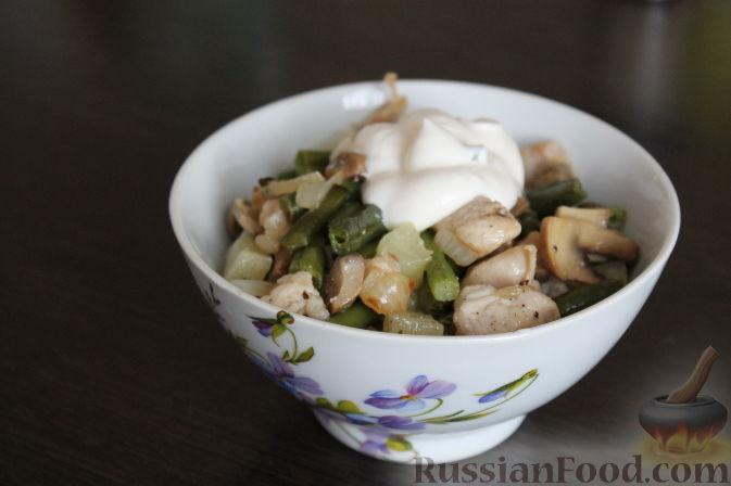 """Рецепт Салат """"Второе"""" с курицей и стручковой фасолью"""