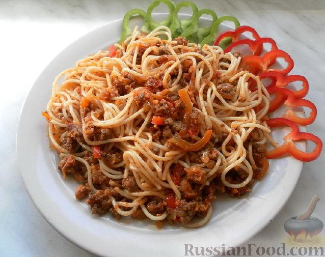 Рецепт Спагетти с фаршем и овощами