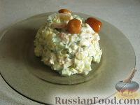 Фото к рецепту: Салат с кальмарами постный