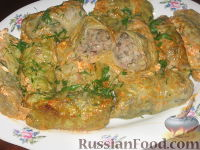 Фото к рецепту: Голубцы из савойской капусты с грибами