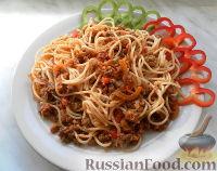 Фото к рецепту: Спагетти с фаршем и овощами