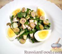 Фото к рецепту: Салат с куриным филе и черемшой