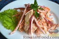 Фото к рецепту: Салат с курицей, морковью и сладким перцем