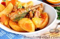 Фото к рецепту: Кролик в томатном соусе, с апельсином