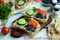 Фото к рецепту: Бутерброды с тунцом и икрой