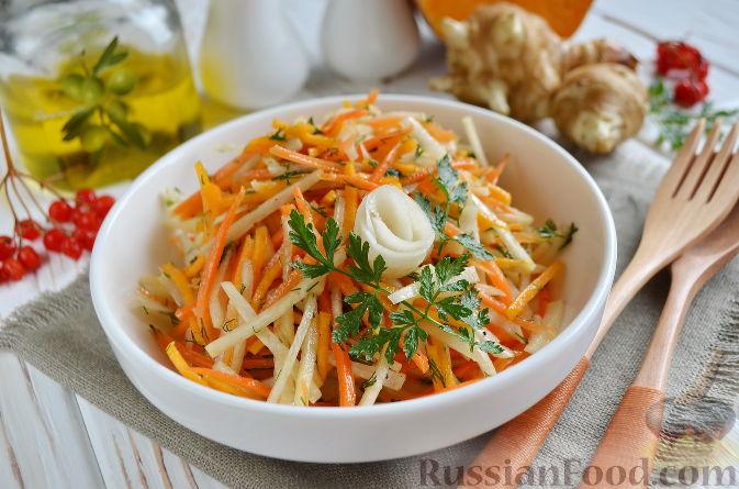 Фото приготовления рецепта: Салат из топинамбура, редьки, тыквы и моркови - шаг №8