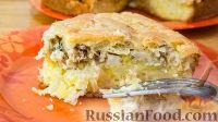 Фото к рецепту: Заливной пирог с картофелем и сайрой