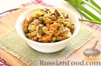 Фото к рецепту: Салат с печенью, горошком, морковью и луком