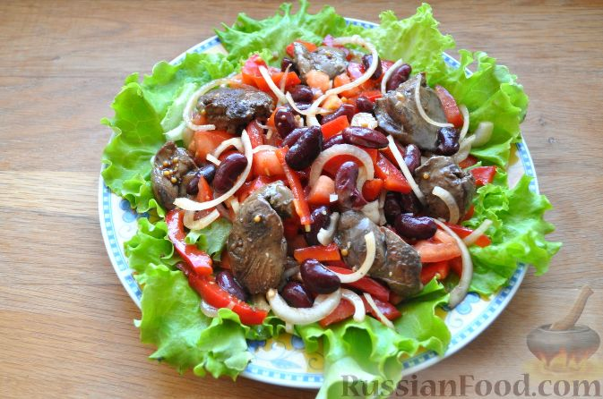 Рецепты салатов с куриной печенью и фасолью рецепт с