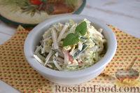Фото к рецепту: Салат с крабовыми палочками и сулугуни