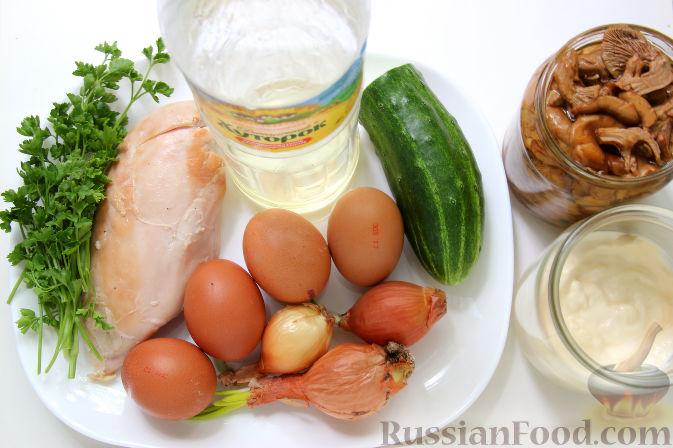 рецепт салата с курицей грибами и яйцами