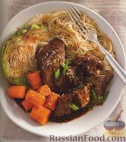 Фото к рецепту: Говядина с капустой, морковью и макаронами (в азиатском стиле)