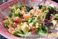 Фото к рецепту: Весенний салат с авокадо и кускусом