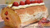 Фото к рецепту: Бисквитный рулет с белково-масляным кремом