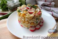 Фото к рецепту: Крабовый салат с пастой орцо