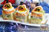 Фото к рецепту: Канапе с салатом «Мимоза»