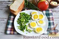 Фото приготовления рецепта: Канапе с салатом «Мимоза» - шаг №11