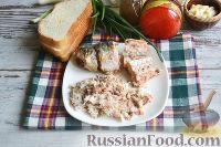 Фото приготовления рецепта: Канапе с салатом «Мимоза» - шаг №12