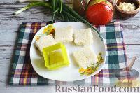 Фото приготовления рецепта: Канапе с салатом «Мимоза» - шаг №13