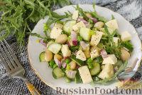 Фото к рецепту: Салат из огурцов, зеленого горошка, фасоли и феты