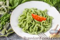 Фото к рецепту: Домашняя лапша со шпинатом