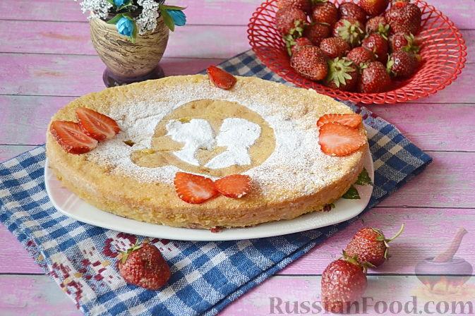 быстрый пирог с клубникой с фото