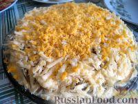 """Фото к рецепту: Слоеный салат """"Белый"""" с курицей"""
