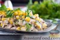 Фото к рецепту: Куриный салат с ананасом и грибами