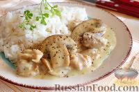 Фото к рецепту: Сливочная подлива из курицы и грибов