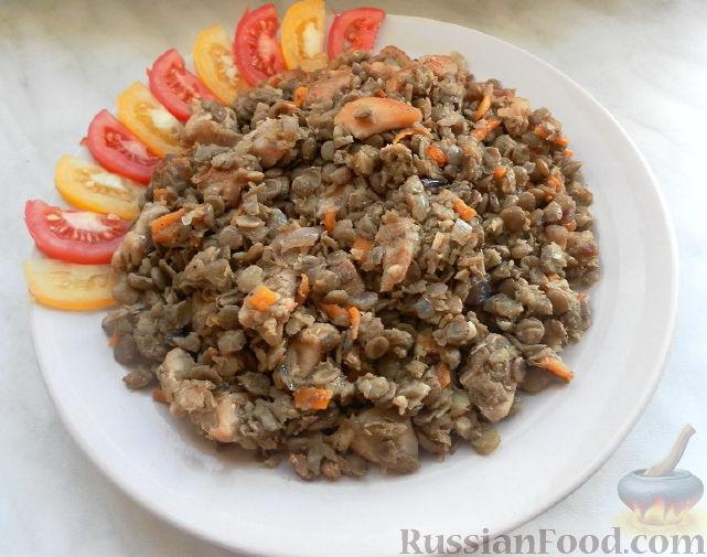 Рецепт Зеленая чечевица с курицей