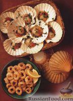 Фото к рецепту: Жареные морские гребешки и кальмары